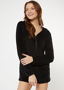 Black Hooded Sherpa Sleep Romper