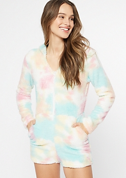 Tie-Dye Hooded Sherpa Sleep Romper
