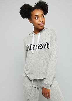 Gray Blessed Hacci Pullover Hoodie