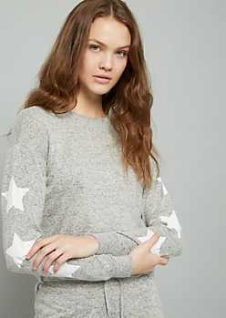 Gray Star Print Hacci Cropped Sweatshirt