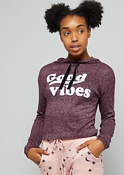 Dark Purple Good Vibes Hacci Hoodie