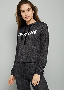 Black Chillin Hacci Cropped Hoodie