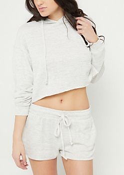 Heather Gray Hacci Knit Cropped Hoodie