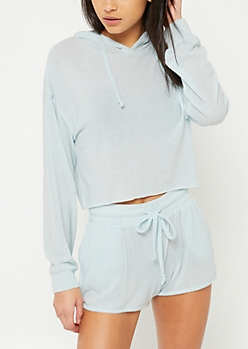 Light Blue Hacci Knit Cropped Hoodie