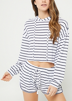 Stripe Hacci Knit Cropped Hoodie