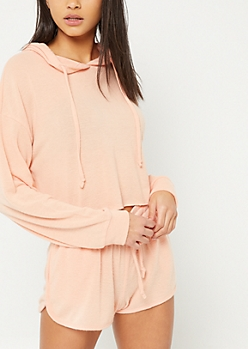 Coral Hacci Knit Cropped Hoodie