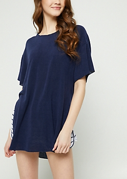 Navy Oversized Hooded Tunic