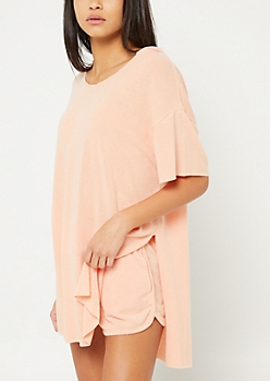 Coral Oversized Hooded Tunic