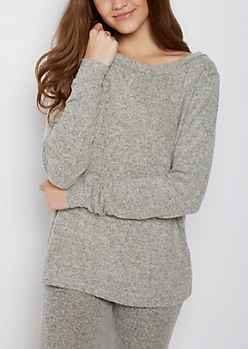 Gray Hacci Relaxed Pullover Top