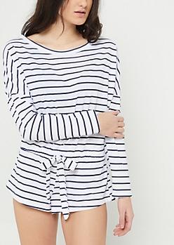 White Stripe Long Sleeve Romper