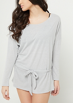 Heather Gray Long Sleeve Romper