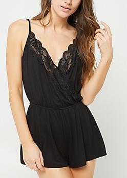 Black Lace Sleep Romper