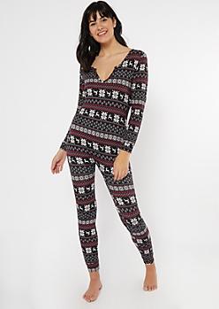 Black Reindeer Fair Isle Print Pajama Onesie