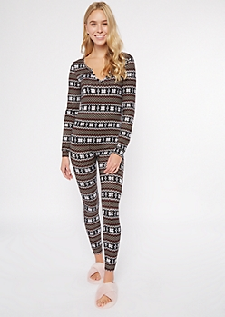 Black Fair Isle Super Soft Fitted Onesie