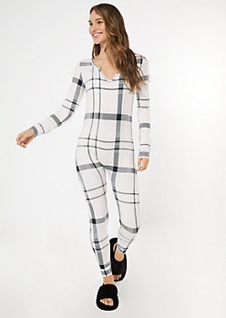 Pink Plaid Print V-Neck Super Soft Onesie