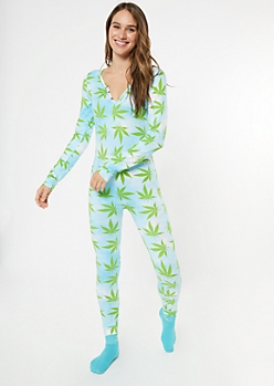 Weed Print V-Neck Super Soft Onesie