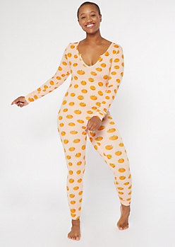 Peach Print V-Neck Super Soft Onesie