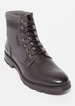 Black Canvas Trimmed Genuine Leather Boots