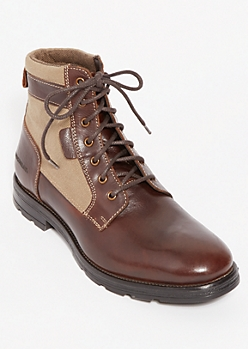 Brown Canvas Trimmed Genuine Leather Boots