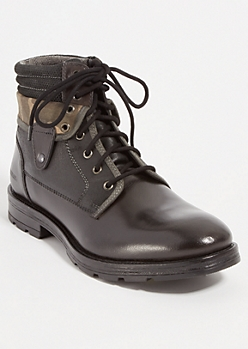Black Camo Foldover Leather Hiking Boots