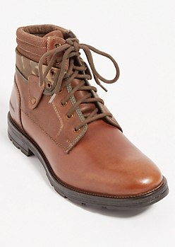 Brown Camo Foldover Leather Hiking Boots