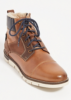 Brown Contrast Genuine Leather Boots