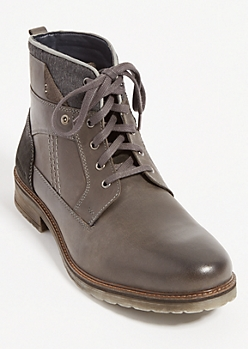 Charcoal Gray Wool Foldover Leather Boots