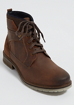 Brown Wool Foldover Leather Boots