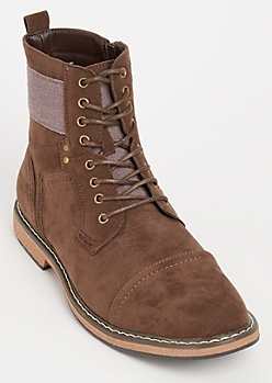 Dark Brown Faux Suede Cap Toe Boots
