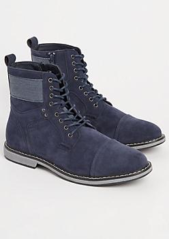Navy Faux Suede Cap Toe Boots