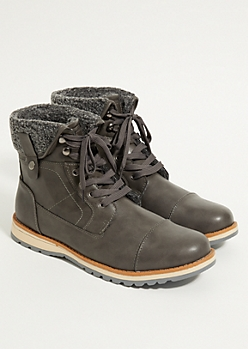Charcoal Gray Fleece Lined Boots