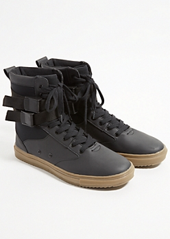 Black Buckled High Top Sneakers