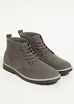 Charcoal Gray Felt Lined Boots