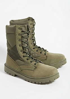 Dark Olive Military Boots