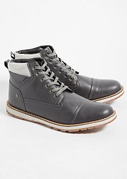 Dark Gray Herringbone Pattern Boots