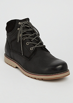 Black Low Top Genuine Leather Hiking Boots
