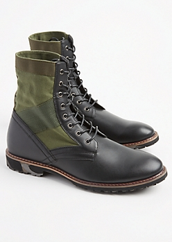 Black Faux Leather Textured Combat Boots