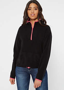 Black Half Zip Polar Fleece Pullover
