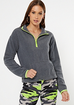 Gray Half Zip Polar Fleece Pullover