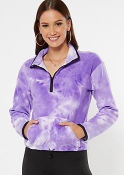 Purple Tie Dye Half Zip Polar Fleece Pullover
