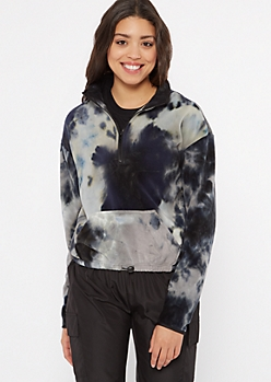 Black Tie Dye Half Zip Polar Fleece Pullover
