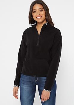 Black Checkered Print Half Zip Polar Fleece Pullover