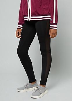 Black Mid Rise Mesh Side Striped Leggings