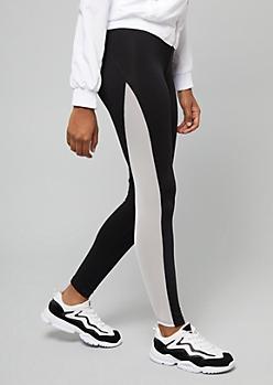 White Mid Rise Mesh Side Striped Leggings