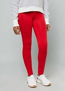 Red Mid Rise Mesh Side Striped Leggings