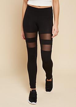 Black Mid Rise Mesh Stripe Leggings
