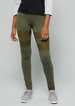 Olive Mid Rise Mesh Striped Leggings