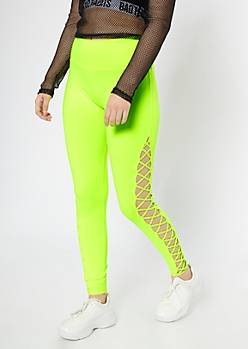 Neon Yellow High Waisted Lattice Cutout Leggings