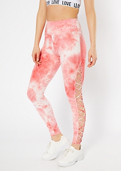 Coral Tie Dye Lattice Side High Waisted Leggings