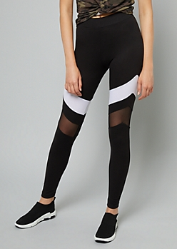 White Striped Mesh Super Soft Leggings